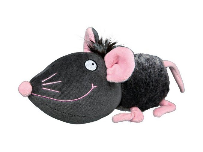 TRIXIE Plyšová myš šedá s růžovýma ušima, čumákem a tlapkami 33 cm