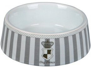DOG PRINCE - keramická miska šedo/bílá 0,18 l/12 cm