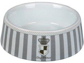 DOG PRINCE - keramická miska šedo/bílá 1 l/20 cm