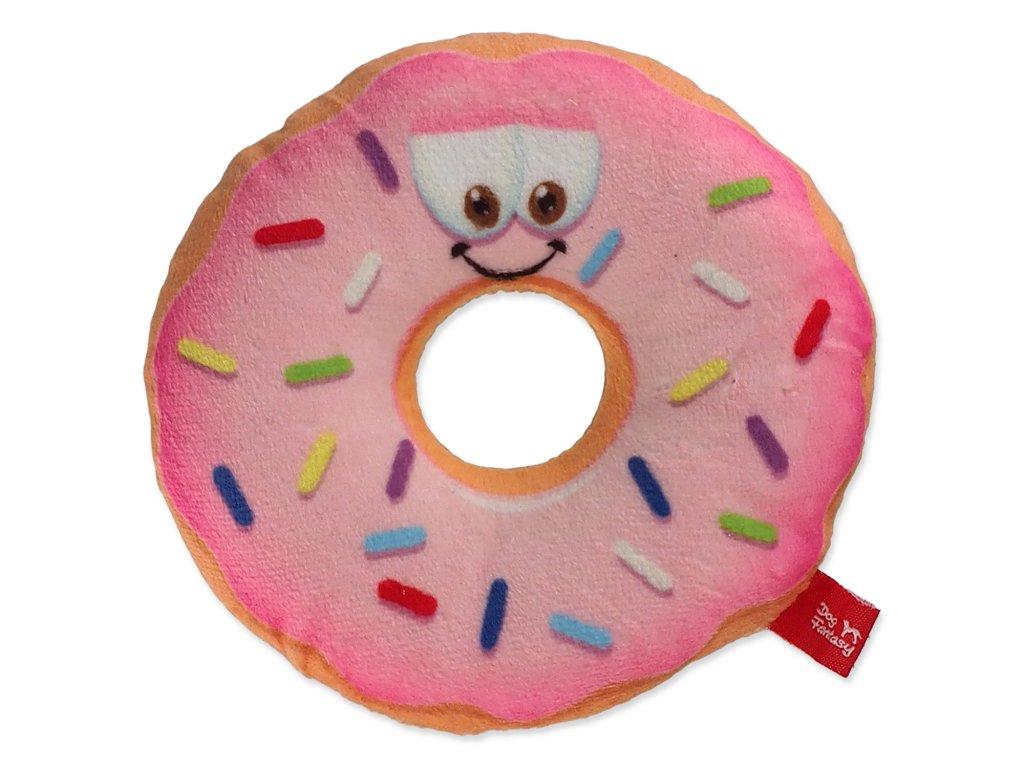 plysova hracka pre psy donut ruzovy obličej dogee