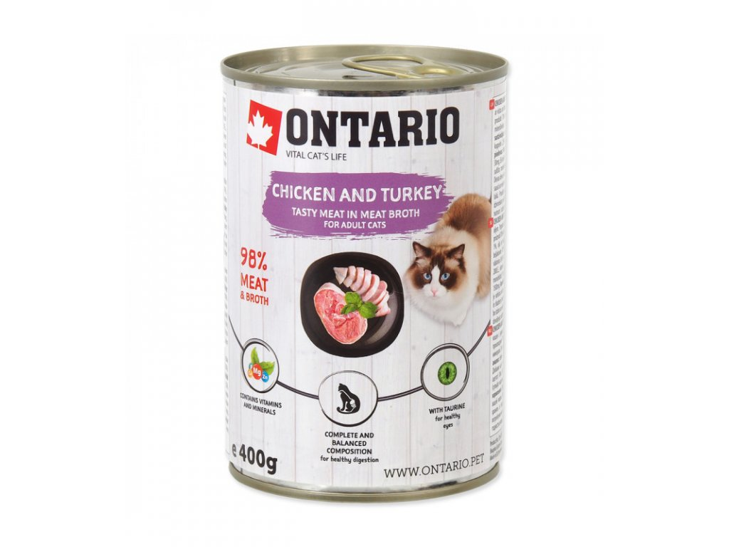 konzerva ontario cat chicken turkey salmon oil 400g