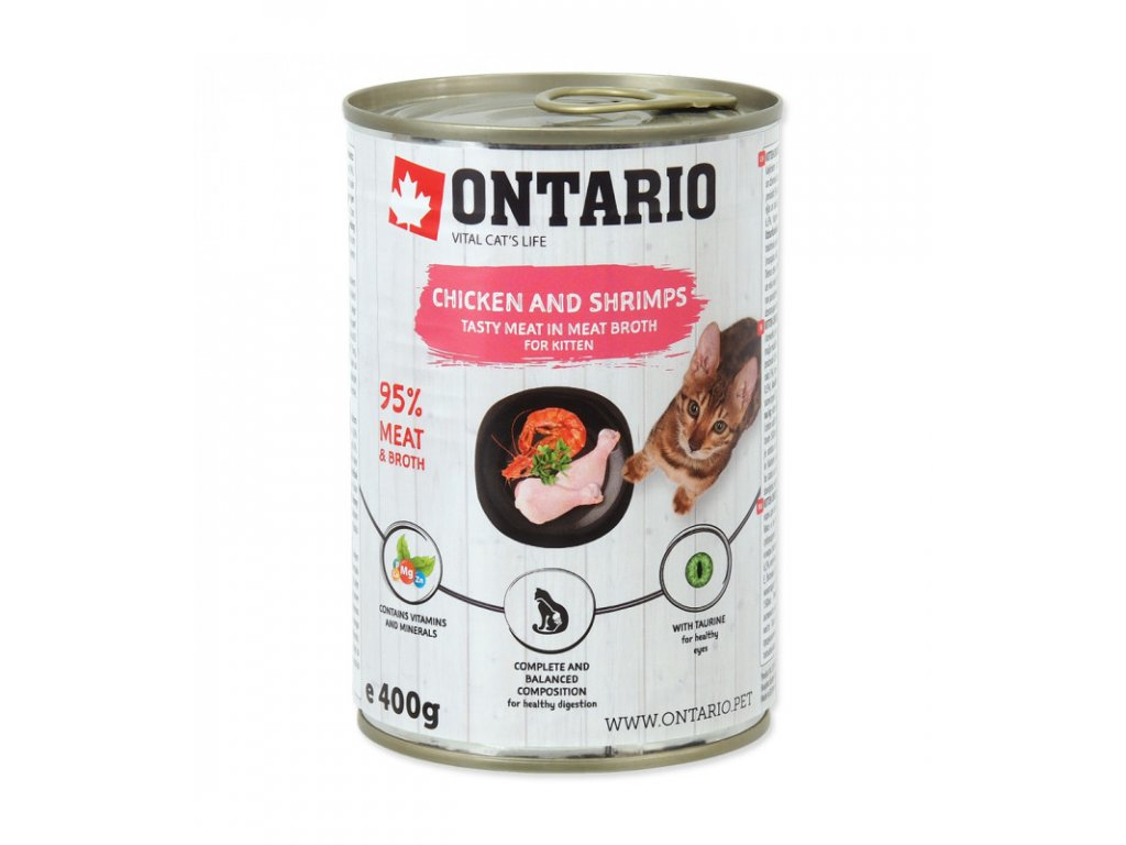 konzerva ontario kitten chicken shrimp rice and salmon oil 400g