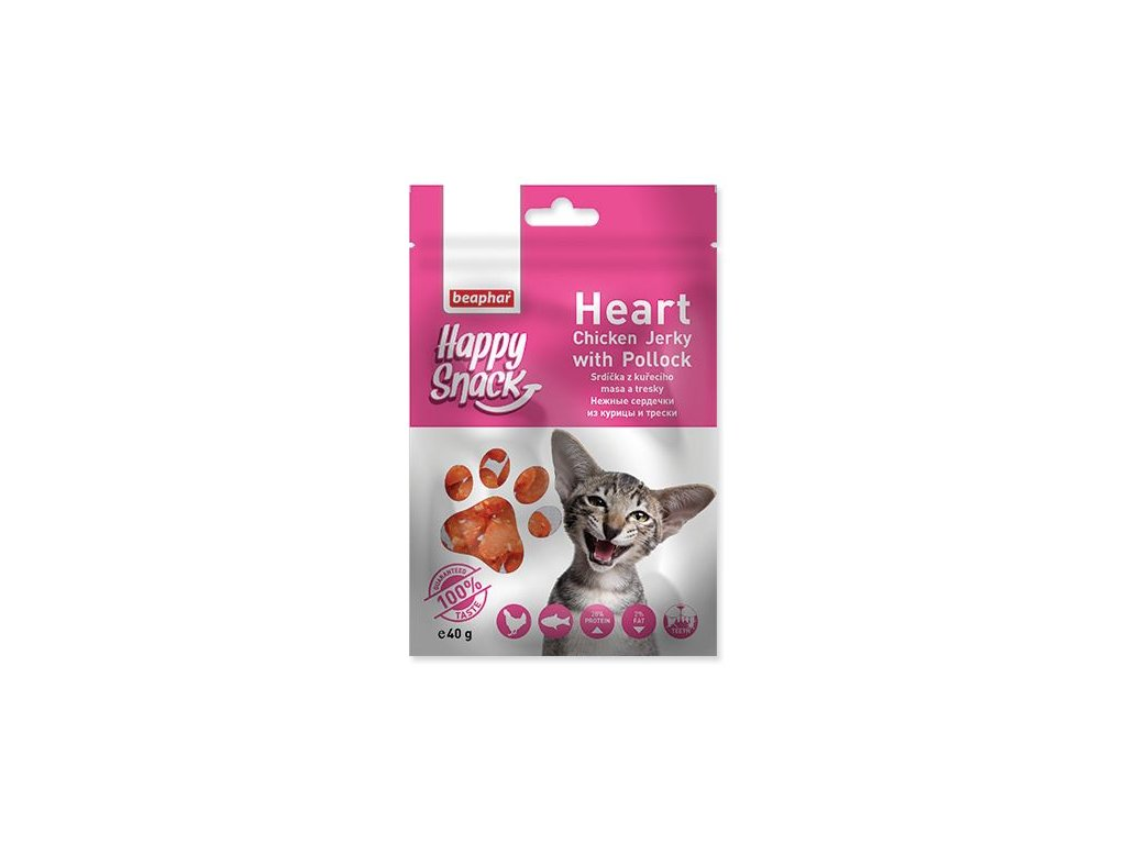 0195207 pochoutka beaphar happy snack cat srdicka z kureciho masa a tresky 40g