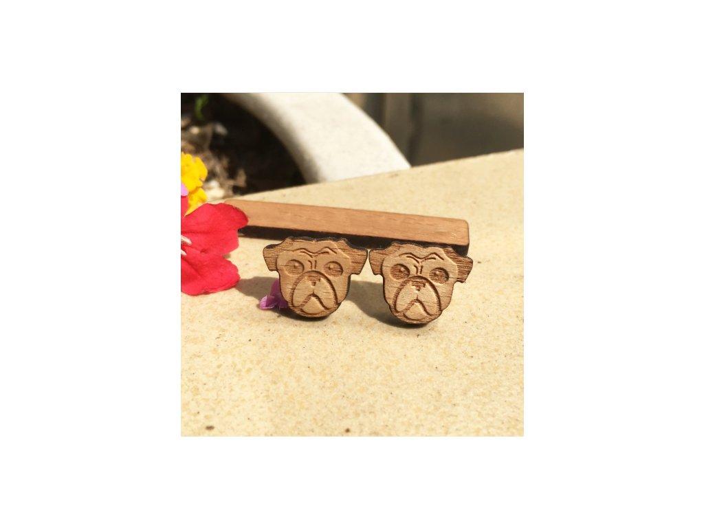 Woodsy náušnice Buldoček - originálne drevené náušnice