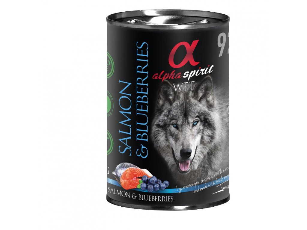 losos s čučoriedkami konzerva pre psov alpha spirit dogee