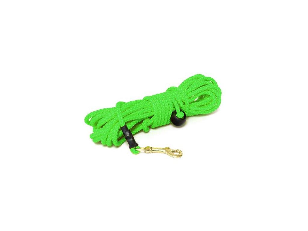 mystique nylonove stopovacie voditko gulate 7mm neon zelena 50m bronz karabina dogee sk