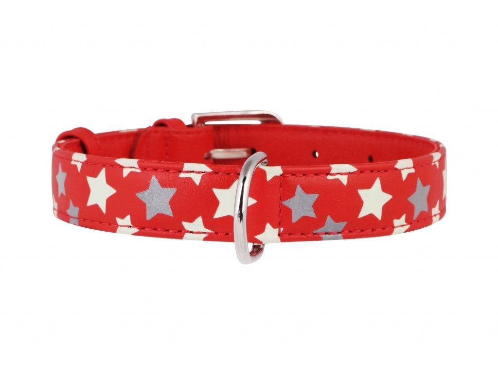 reflexný a svietiaci obojok s hviezdickami červený