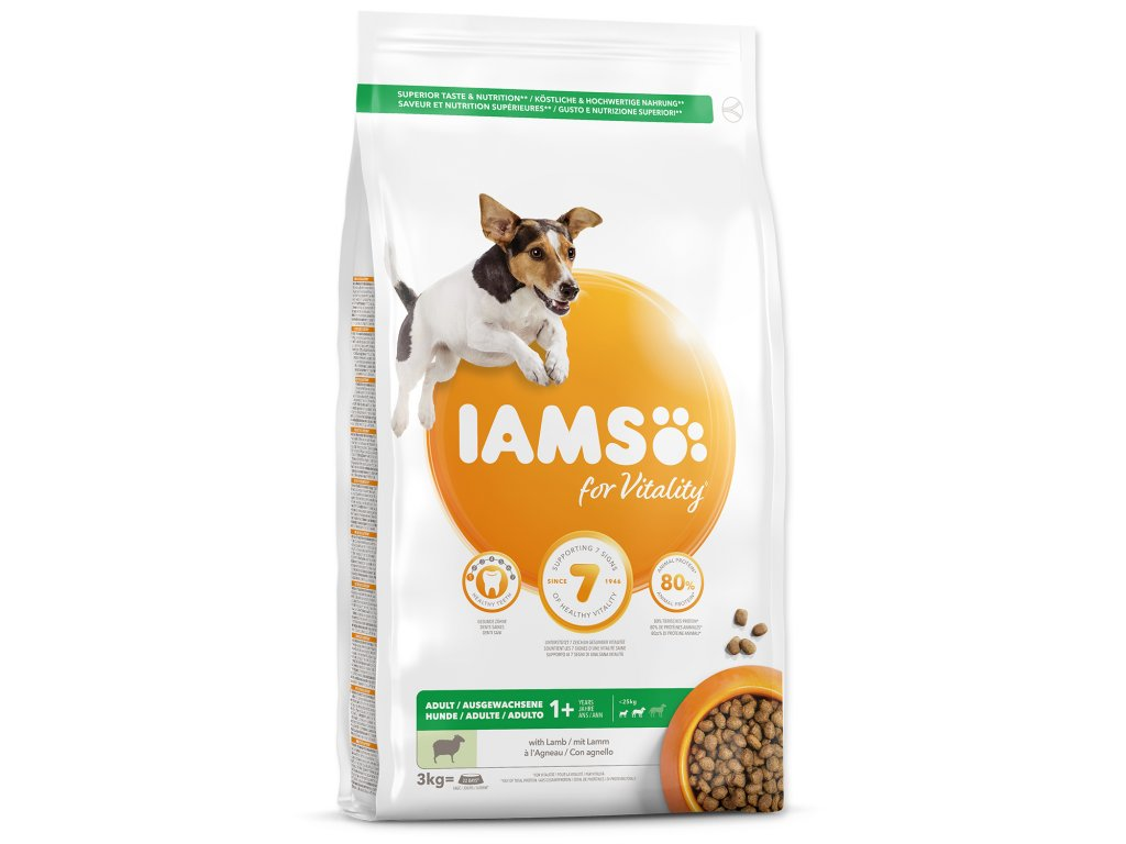 IAMS krmivo pre psov Adult Small & Medium Lamb  12kg + 3kg ZADARMO