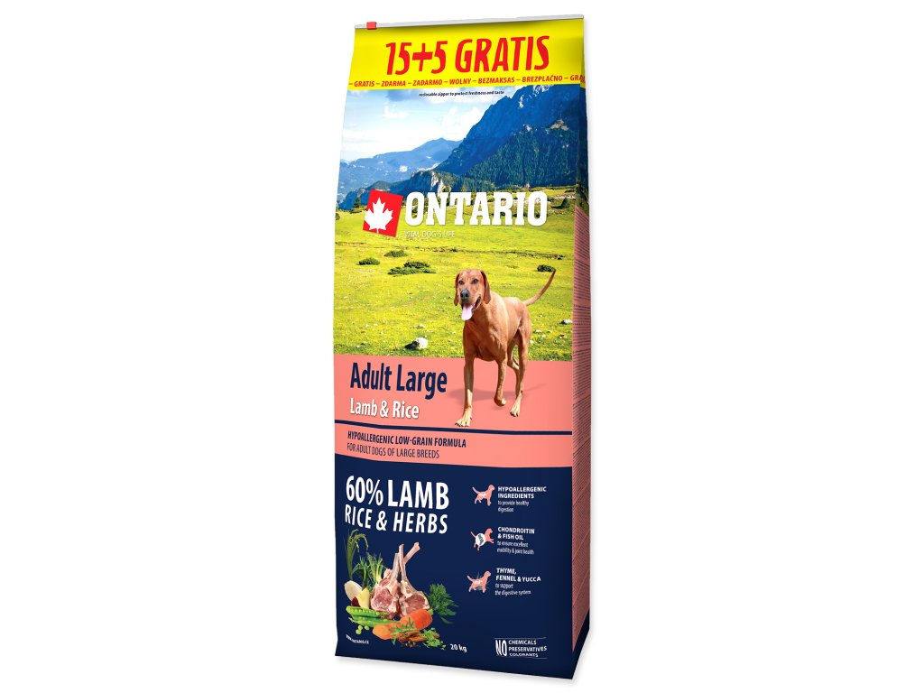 ontario lamb rice 15+5kg dogee large