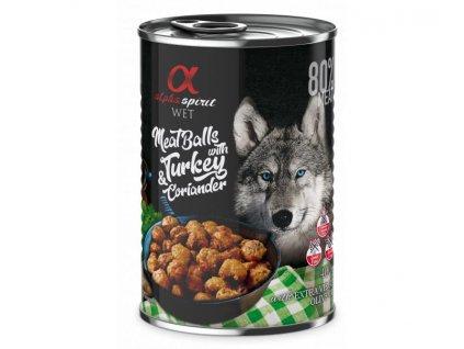 alpha spirit konzerva pre psy morčacie meatballs