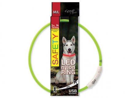 obojok pre psa LED reflexny dogee sk 65cm zeleny