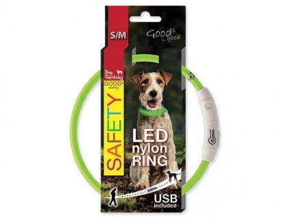 obojok pre psa LED reflexny dogee sk 45cm zeleny