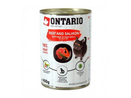 konzerva ontario cat beef salmon sunflower oil 400g