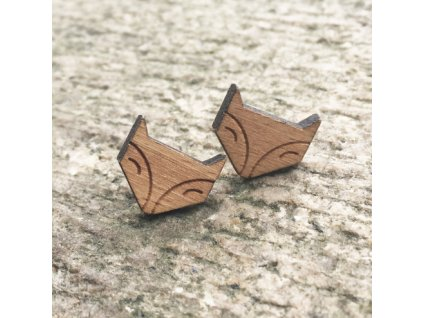 Woodsy náušnice Líštička - originálne drevené náušnice