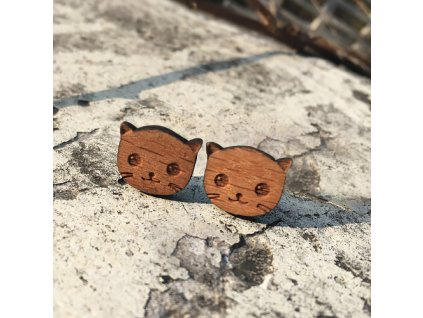 Woodsy náušnice Mačička - originálne drevené náušnice