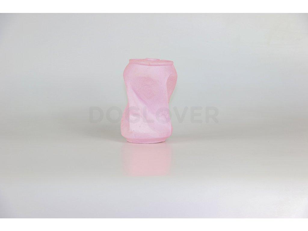 Eco friendly hračka pro psy plechovka růžová, 16cm/110g