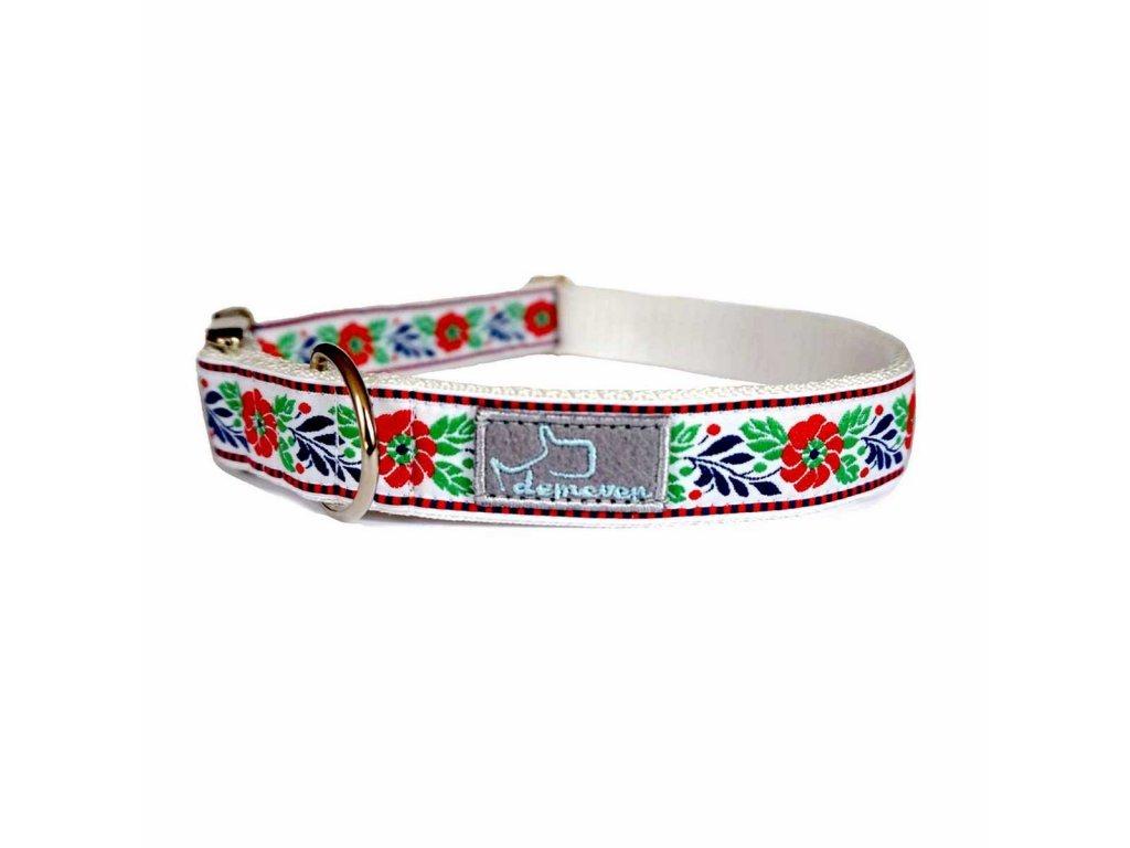 630 3 sedmikraska bilo modra shop obojek pro psa psi folklorni krasny svatebni stylovy modry vysivany demeven cesky handmade