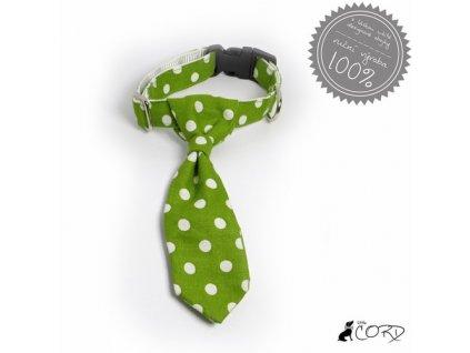 Little Cord Obojek s kravatou pro pejsky - Zelený puntík