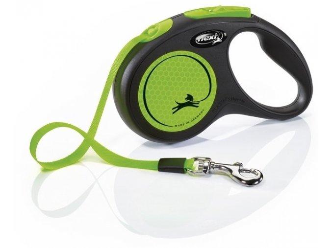 23879 flexi new neon paskove voditko s zelena 5m do 15kg