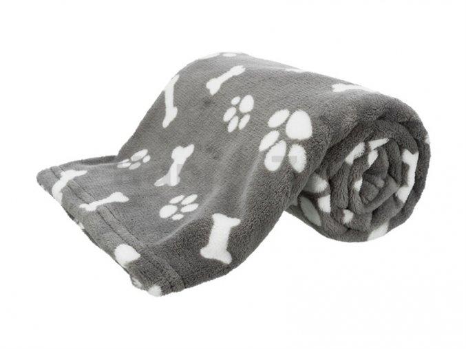 24365 trixie kenny plysova deka seda s kostickami a packami 75x50cm