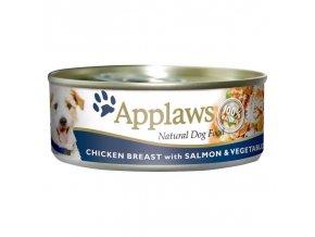 Applaws konzerva Dog kuře, losos a zelenina 156g