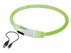 25229 nobby led svitici krouzek na krk pro psy a kocky zelena 35cm