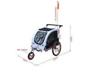 Vozik za kolo pro psa 2v1 s otocnym kolem a brzdou