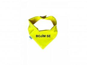 FUNKY DOG žlutý šátek BOJÍM SE (Velikost výrobku XXL)