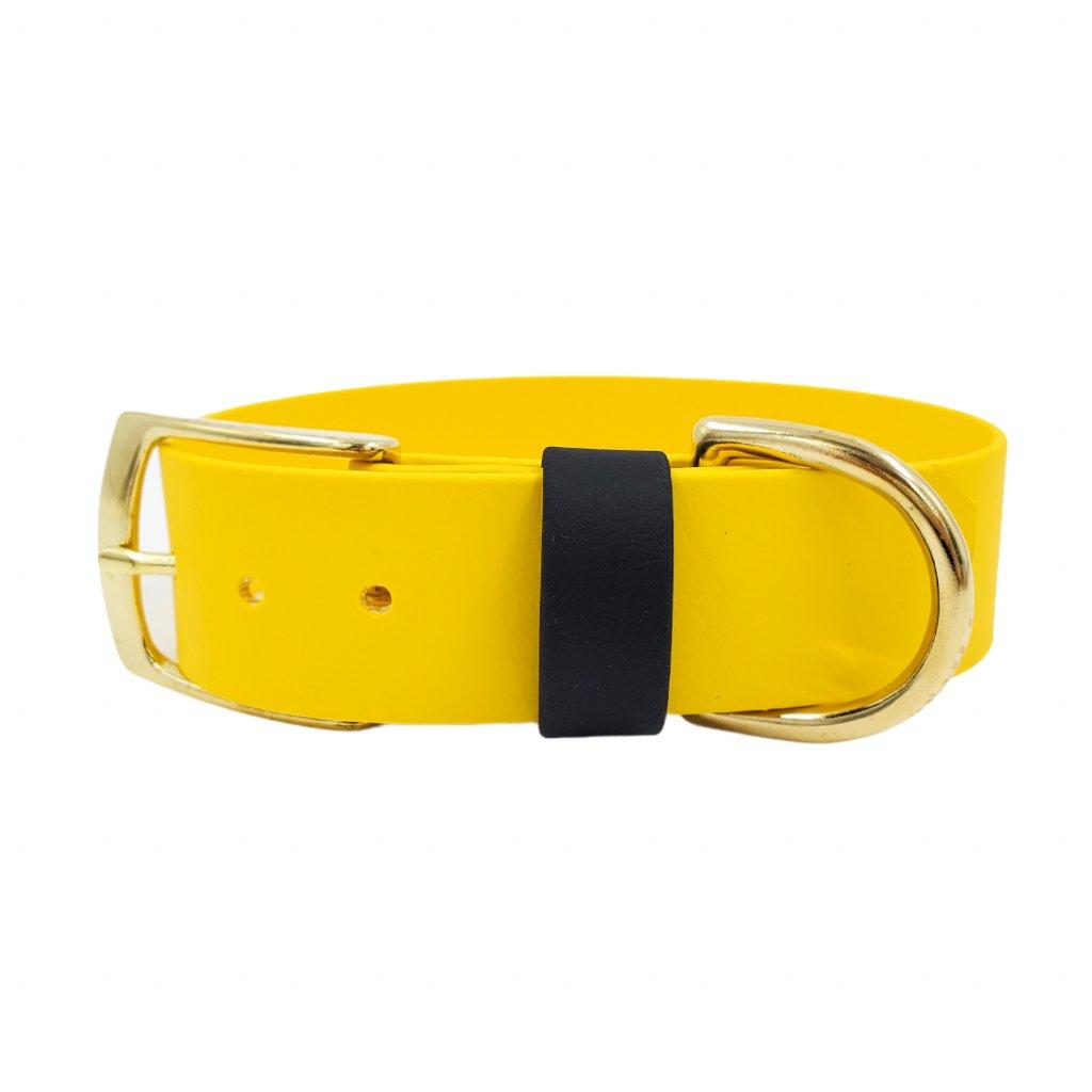 Široký obojek pro psa - žlutý