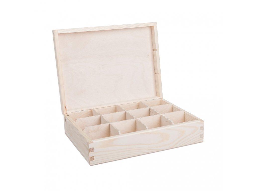 12326 1 drevena krabicka na caj 12 prihradek Doleo.cz