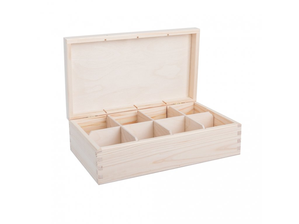 12320 drevena krabicka na caj 8 prihradek Doleo.cz