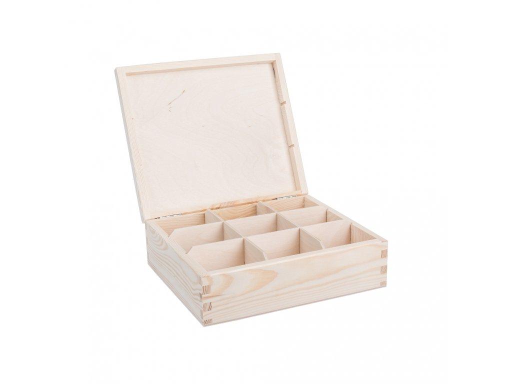 12323 drevena krabicka na caj 9 prihradek Doleo.cz