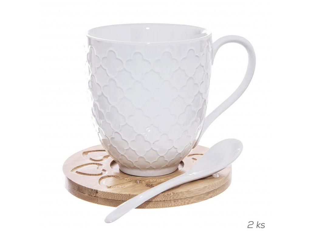 14594 1 orion dreveny podtacek s porcelanovym hrnickem a lzickou 2 ks