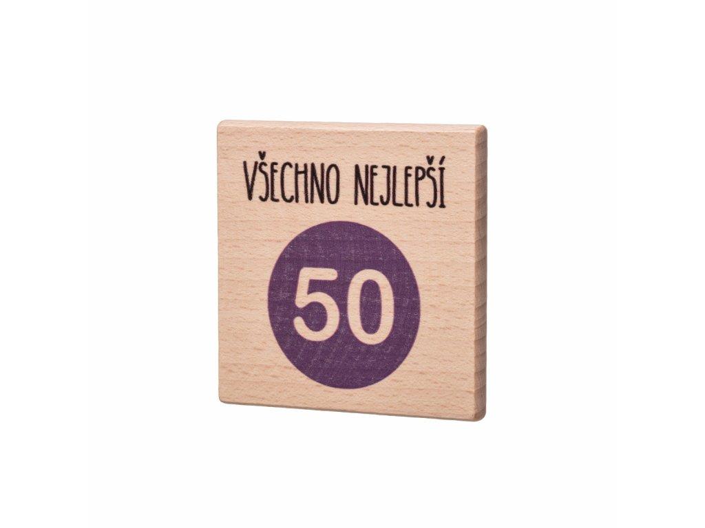 Dřevěný podtácek Všechno nejlepší 50