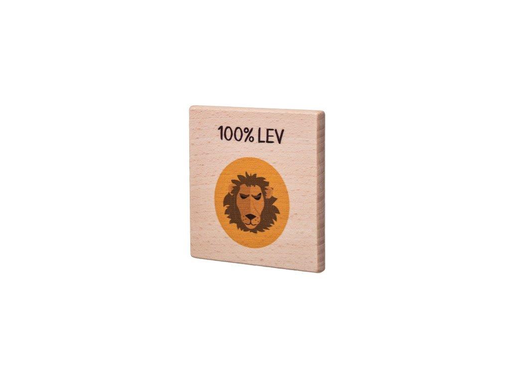 Dřevěný podtácek - 100% Lev