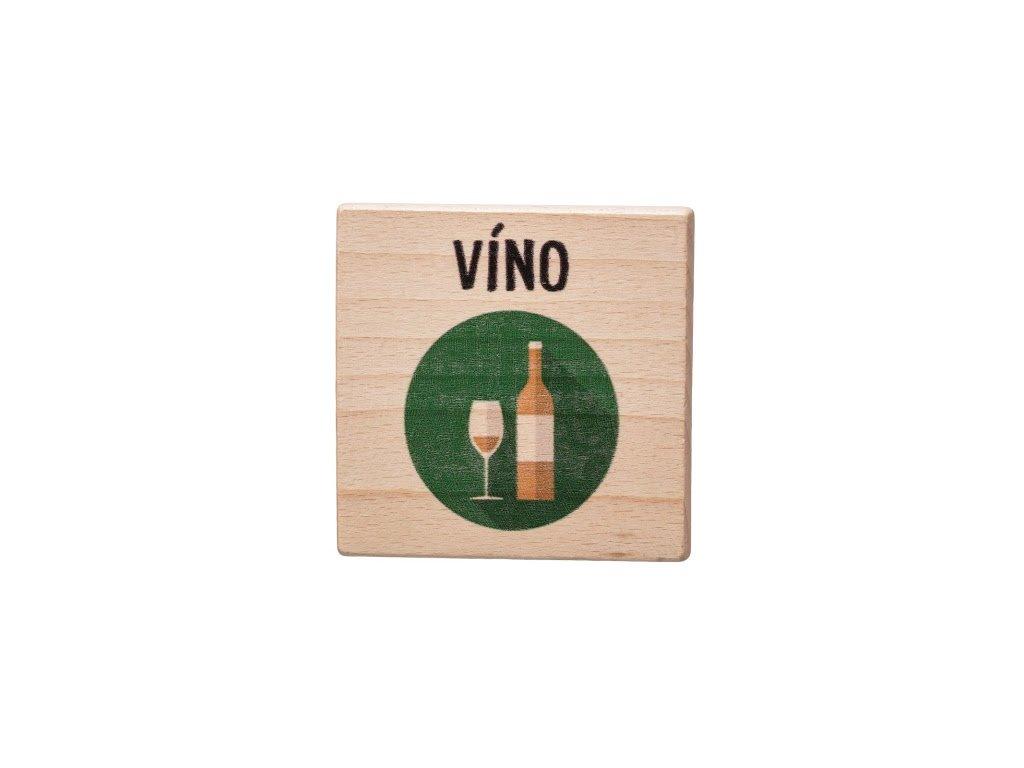 Dřevěný podtácek - Víno