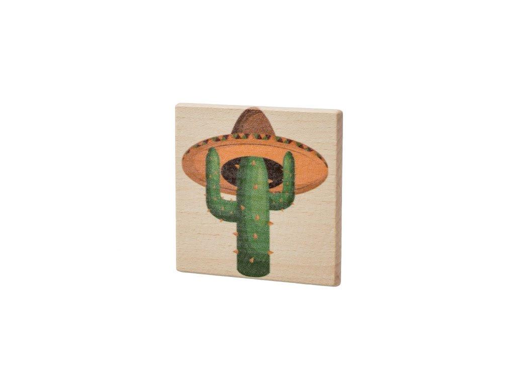 Dřevěný podtácek - Kaktus