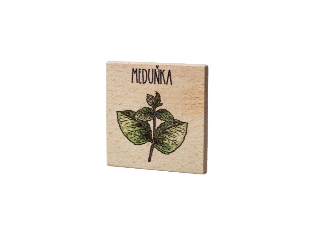 Dřevěný podtácek - Meduňka