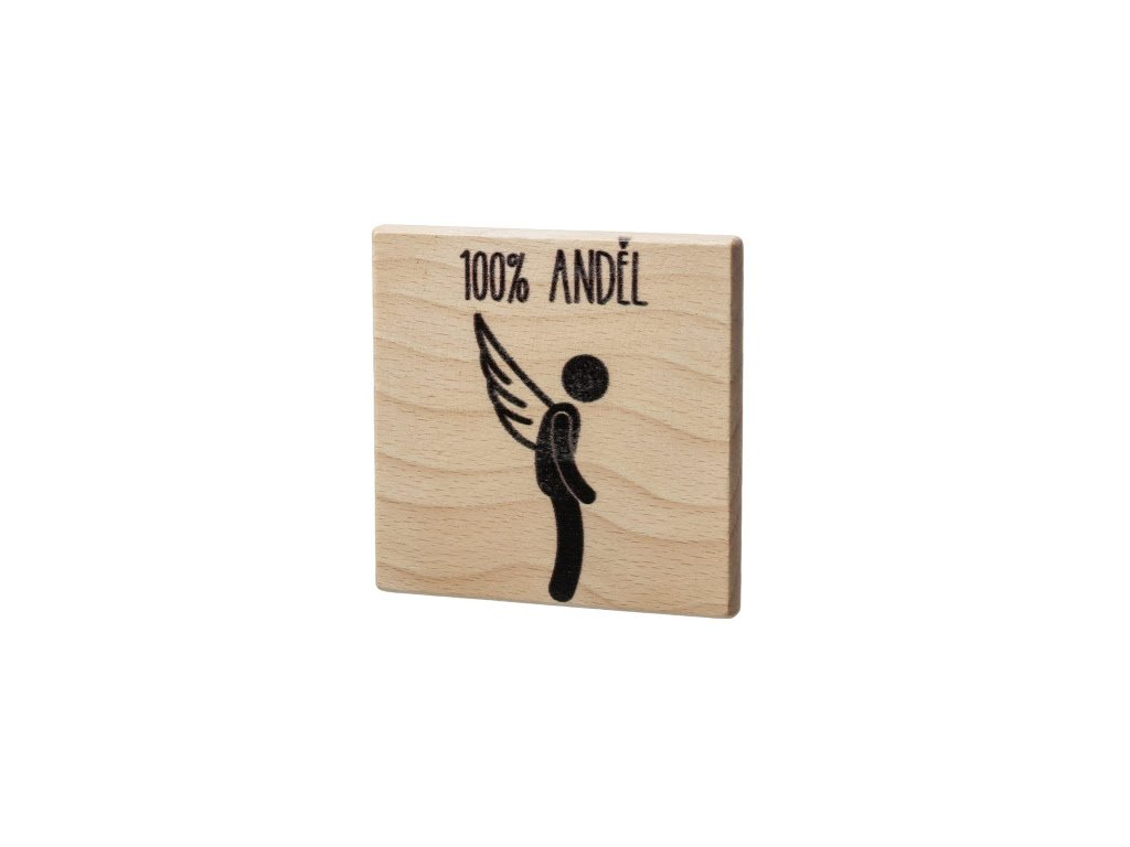Dřevěný podtácek - 100% Anděl