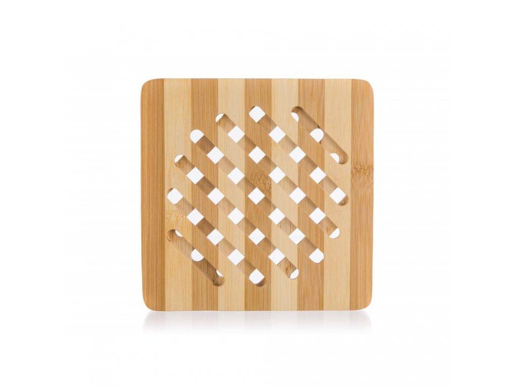Hranatá bambusová podložka pod hrnec - 18 cm