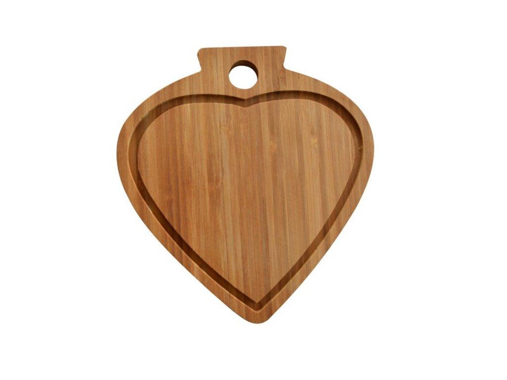 Bambusová deska ve tvaru srdce 23 x 21 cm Doleo.cz