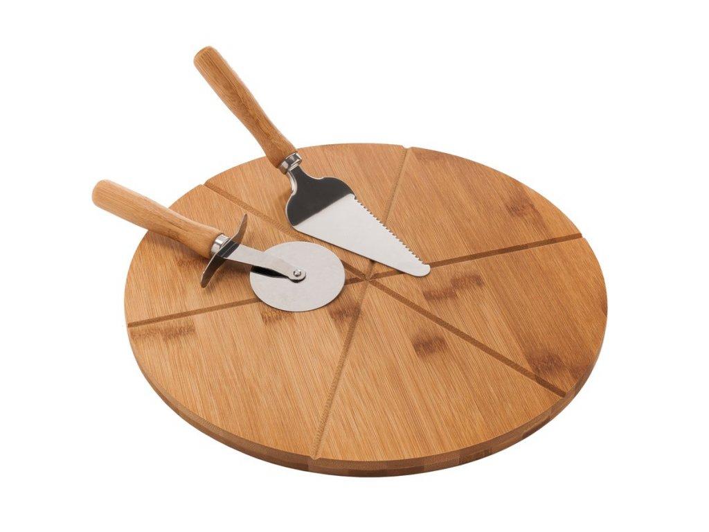 Pizza set z bambusového dřeva - prkénko, kráječ, lopatka - Doleo