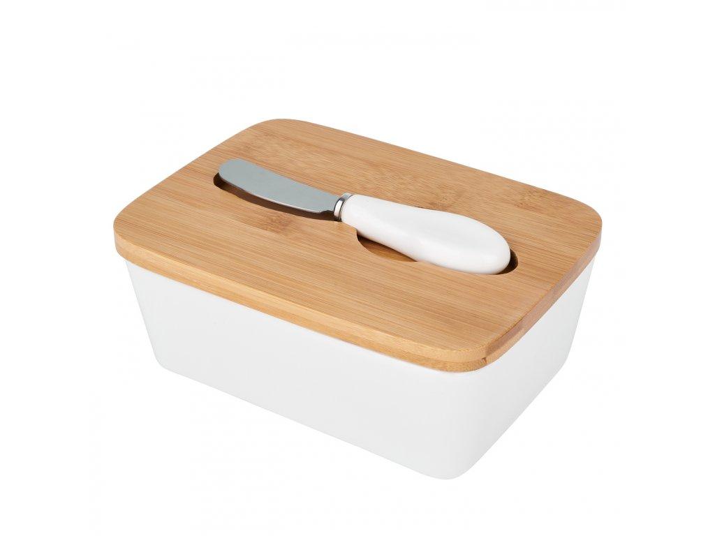 Máslenka s bambusovým víkem a nožem - Bílá - Doleo
