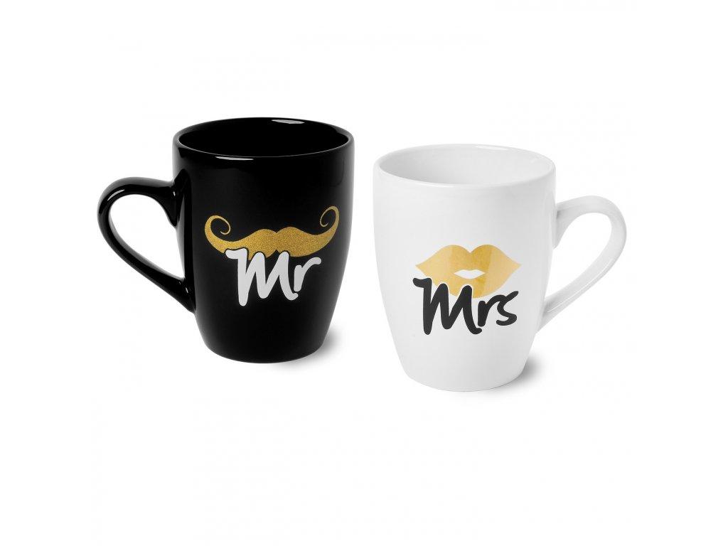 Sada porcelánových hrníčků Mr & Mrs 300 ml | www.doleo.cz