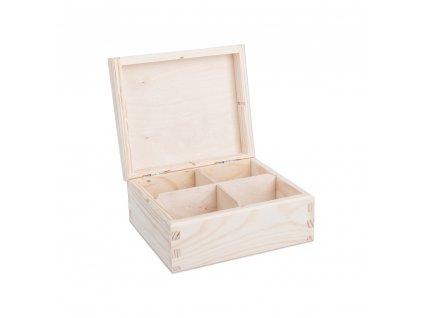 12317 drevena krabicka na caj 4 prihradky Doleo.cz