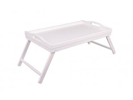 13115 2 dreveny servirovaci stolek do postele 50 x 30 cm bily Doleo.cz