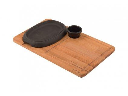 Litinový talíř 12 x 19 cm s velkým dřevěným podstavcem Doleo.cz