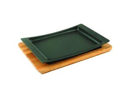 Litinový talíř 36 x 24 cm s dřevěným podstavcem Doleo.cz