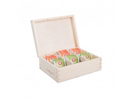 Dřevěná krabička na čaj (6 přihrádek)