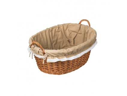 Proutěný koš na prádlo obšitý - přírodní